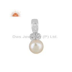 CZ Pearl Gemstone White Rhodium Plated 925 Silver Pendant Jewelry