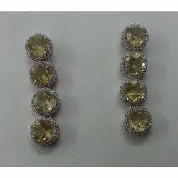 925 Silver Earring Danglers with Lemon Quartz