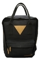 Black Plain Waxed Canvas & Genuine Leather Backpack, Size: Medium