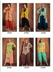 Lymi Present Vintage Pure Muslin Top Bottom With Shrug Ethnic Collection