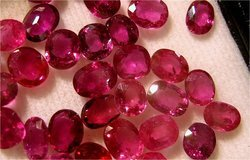 Red-pink Round Natural Ruby Stone, Shape: Round