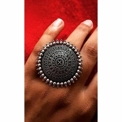 Joypur Sales German Silver Oxidized Ring, Size: Free