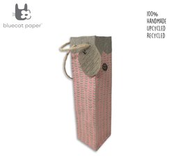 Fabulous Handmade Linen Paper Wine Bag - Peach Waves