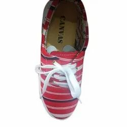 Lace Up Ladies Red Canvas Shoes, Size: 6 to 9