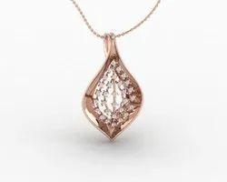 Mesh Diamond Leaf Pendant Rose Gold