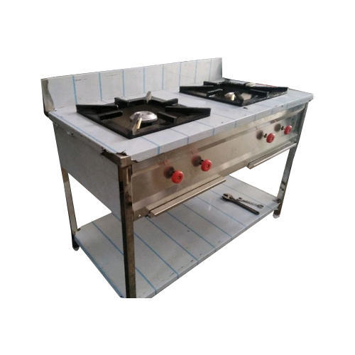 Silver And Black Two Burner Commercial Gas Stove