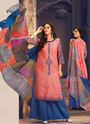 Cotton Light Peach Color Printed Salwar Suits