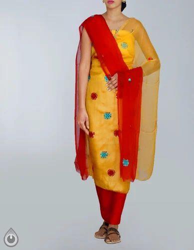 17413d309f Bridal Wear And Formal Wear Cream Pure Handloom Tussar Silk Salwar Kameez