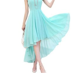 Plain Chiffon Ladies Blue Dress, Dry clean