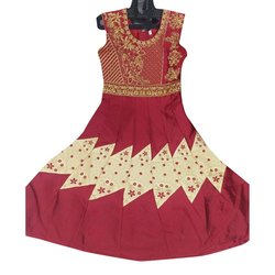 Chanderi Ladies Anarkali Embroidered Suit