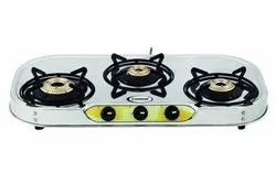 Laxmi Shine Stainless Steel Three Burner Gas Stove, Model Number: VT3
