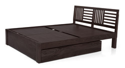 Dark Brown Contemporary Bed with Storage, Size: 212 x 160 x 89 cm