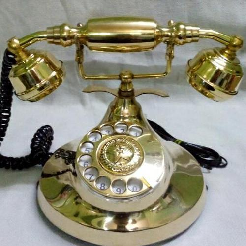 Tayyaba Enterprises Golden Antique Wooden Phone, for Office