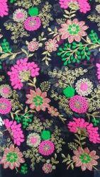 Georgette Multi Color Embroidered Fabric