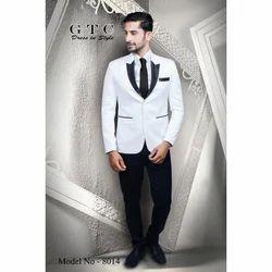 Wedding, Partywear Plain Royal White Men's Suit, Model: 8014