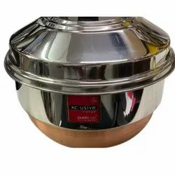 Round Copper Bottom Multi Kadai with Idly and Dhokla Maker