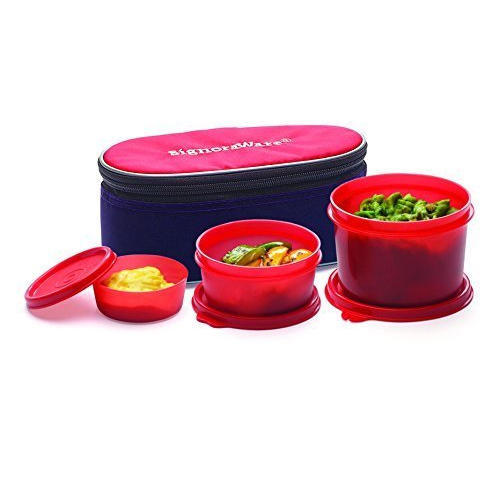 Deep Red Signoraware Rainbow Lunch Box With Bag