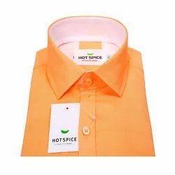 Hot Spice Men's Cotton Orange Plain Shirt