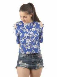 Women Floral Printed Cold Shoulder Top