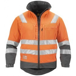 Plain polyester Orange Hi Vis Winter Jacket
