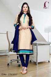 Beige with Blue Border Tripura Cotton Uniform Salwar Kameez