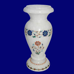 White Marble Handmade Inlay Flower Vase