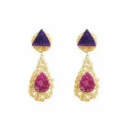 Maira Mesh Druzy Earrings