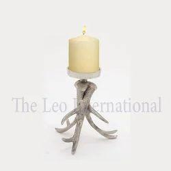 Raw nickel finish aluminium metal Decorative Candle Stand horn shape
