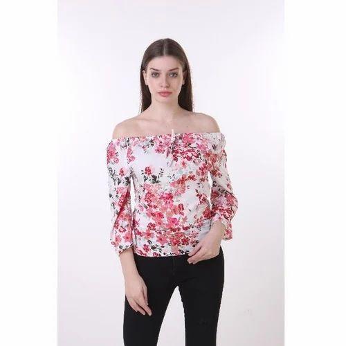c9529e117269b9 Poly Crepe Printed Ladies Floral Off Shoulder Tops
