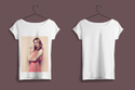 White Womens Half Sleeves Sublimation Polyester Round Neck Printed T Shirt