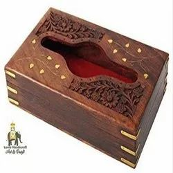 Wooden Carved Tissue Box