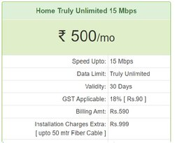 HTPL Broadband service, Speed Upto:15 Mbps, Home Truly Unlimited 15 Mbps