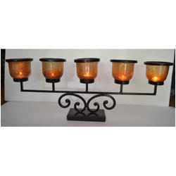 Candle Holder with Antique Copper Glass
