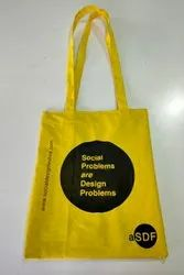 Cotton Printed Yellow Cloth Bag, For Shopping, Size/Dimension: 16x14