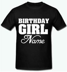 Black Sprinklecart Name Printed Birthday T Shirt