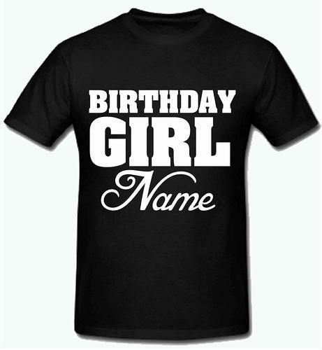 Black Sprinklecart Name Printed Birthday T Shirt