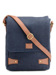Blue Leather Messenger Bag