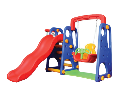 Fibrecrafts India Plastic 3 In 1 Slide Swing And Basketball For
