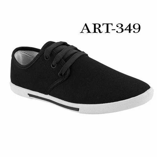 Mens Plain Black Canvas Shoes, Size: 6
