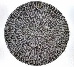 Embroidered Handmade Round Seed Beaded Embroidery Table Place Mat, Size: 15x15 inch
