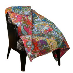 Cotton Multicolored Printed Patchwork Quilted Throw
