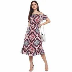 Polyester Printed Midi Dress