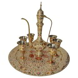 Brass Surai Set With Flower Design