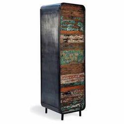 Wooden Black New Vintage Industrial Home Furniture MS Iron Almirah Metal Cabinet