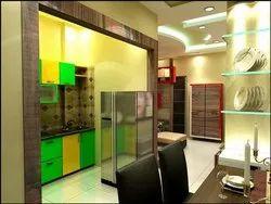 Wooden L Shape Modular Kitchen & Island Kitchen