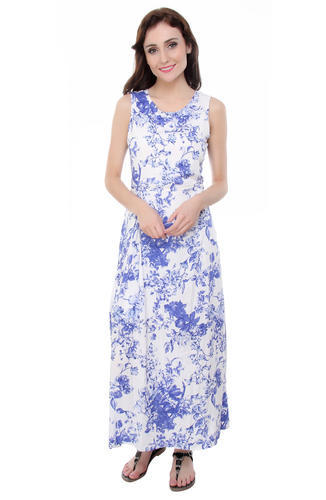 de03d9827b Blue & White Smith William London Blue White Floral Rayon Maxi Dress ...