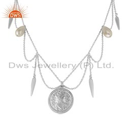 Hand Craved 925 Silver Natural Pearl Gemstone Necklace