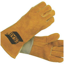 Yellow Leather(Buff/Split/Chrome) Esab Welding Hand Gloves, Model Name/Number: 2001005001