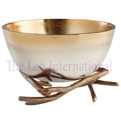Decorative Aluminium metal fruit bowl on stand gold finish
