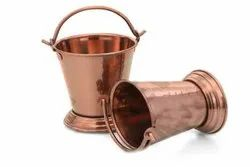 Brass Steel Copper Serving Bucket Set